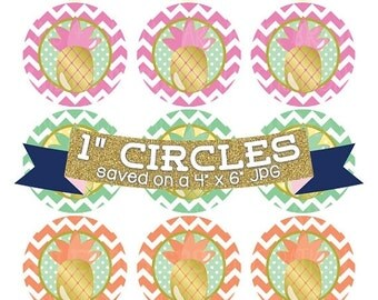 50% OFF SALE Pineapple Digital Bottle Cap Images Digital Collage Sheet with Gold Foil and Chevron Patterns Commercial Use