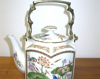 Vintage White Porcelain Floral Brass Handle made in Japan Teapot