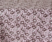 Vintage Polish cotton fabric, 1970's flanel, brown flowers on dusty pink background, quilting fabric, 1970 unused high quality cotton fabric