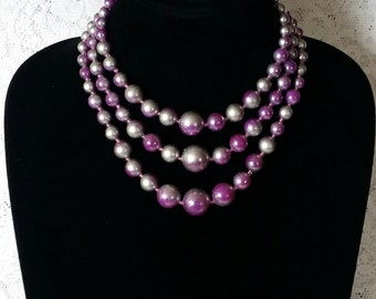Pretty In Purple and Gray, 1950s, Vintage, Three Strand, Faux Pearl, Necklace Choker