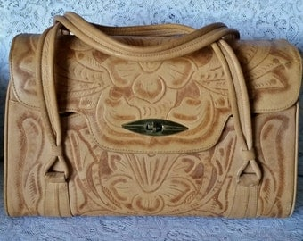 Wonderfully Boho-Chic, Vintage, Tooled Leather, Handbag
