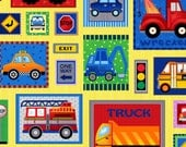 Truck Stop Car Patchwork Multi Children's Fabric by Fabri Qult
