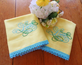 NOS Yellow Love  Embroidered Pillowcases, Yellow Pillowcases, Never Used, Machine Embroidery, Love Pillowcases, Never Used Love Pillowcases