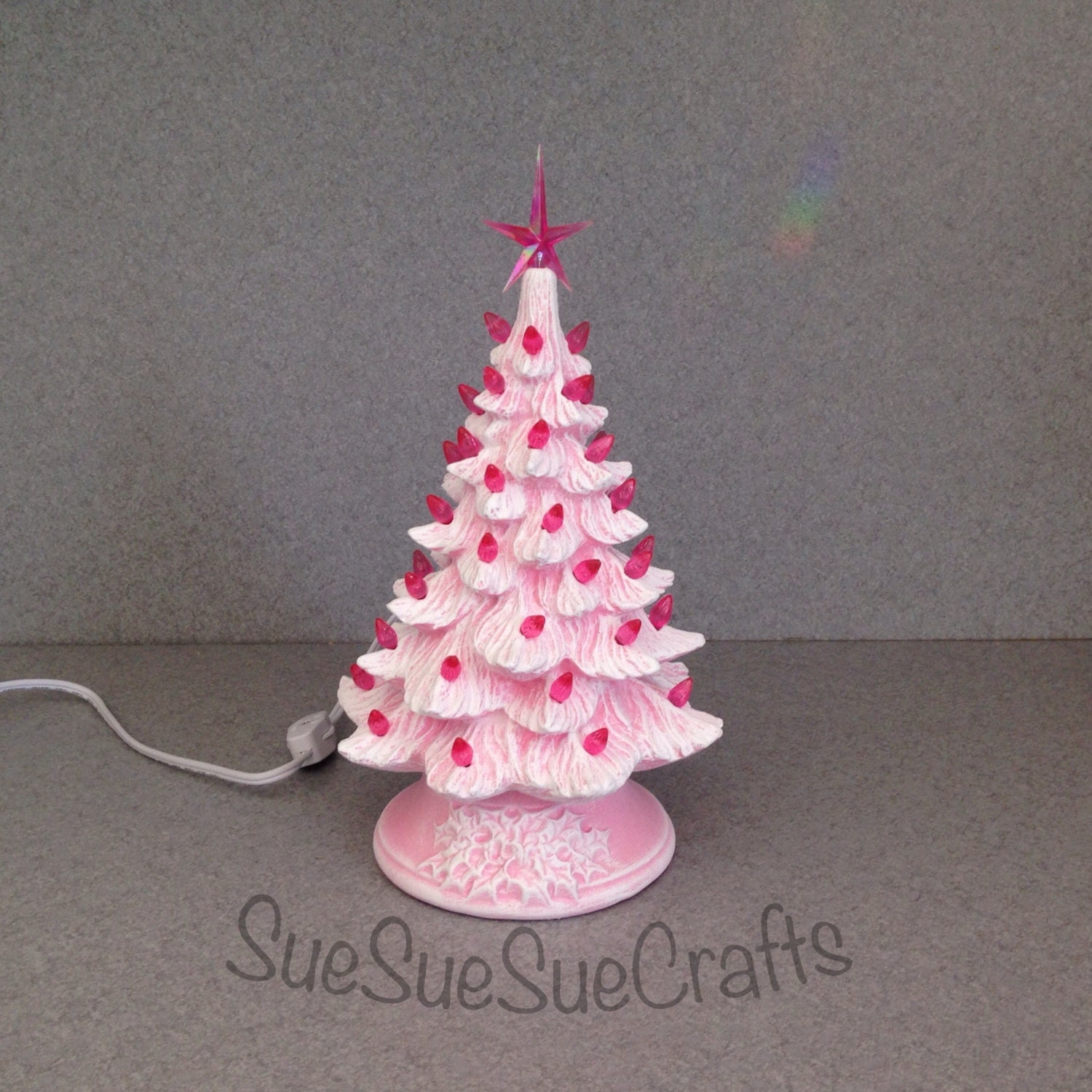 PINK Stained Ceramic Christmas Tree 11 Inches Pink Lights