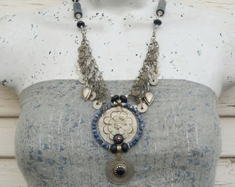 Gypsy Queen - Tribal Metalwork Necklace, Blue Statement Necklace, Lapis Lazuli and Sodalite Jewelry