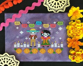 Day of the Dead Cross Stitch Pattern:Dia de los Muertos PDF Instant Download