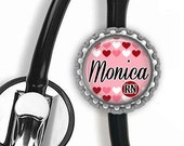 ON SALE - PERSONALIZED Nurse (Hearts) Stethoscope Id Tag - Gifts for Nurses, Student Nurse Gift, Graduation Gift, Stethoscope Accessories