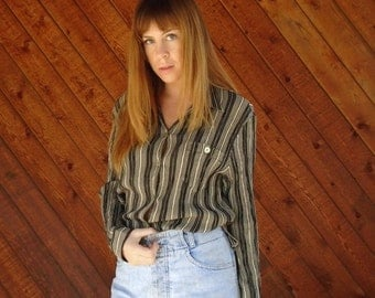 extra 30% off SALE ... Vertical Striped Button Down Long Sleeve Shirt - Vintage 90s - SMALL S