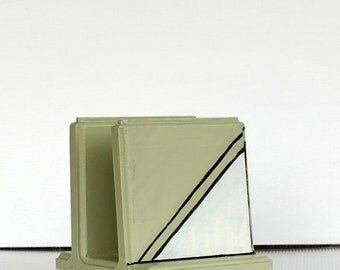 Ivory and Green Slanted Wooden Napkin Holder . Handmade , Hand Painted