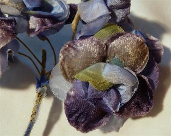 Vintage BLUE Velvet Millinery Flower Bunch 6 Stems from Old Hat