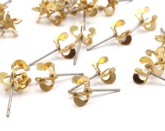 Stainless Steel Post, 50 Stainless Steel Earring Posts With Raw Brass 4mm Pad, Ear Studs For Chaton Rhinestone Bs-1252