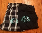 SALE ... Small monogrammed PJ set.  Monogrammed PJs, plaid pants, cotton shirt.  Small