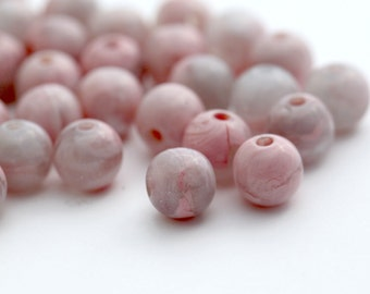 Vintage Pink Crystal Givre Round Marbled Lucite Beads 8mm (30)