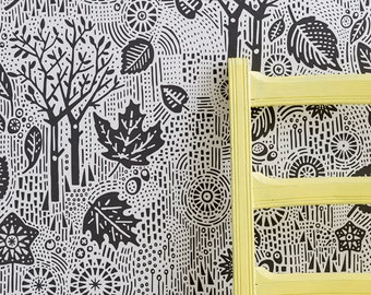 Autumn Wallpaper in Charcoal - 10m x 52cm roll