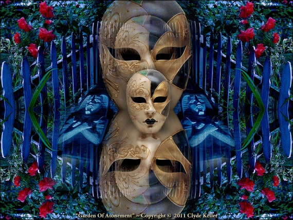 GARDEN OF ATONEMENT, mask with pharaoh, Clyde Keller Photo, Fine Art Print, Color, Signed
