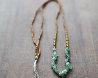 ON SALE Mixed Media Boho Necklace /  Green - Golden - Brown Necklace /  Gemstone Necklace / Green Nekclace /