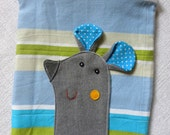 Mousy pouch on BLUE & GREEN stripes