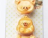 San-X Rilakkuma Relax Bear & Kiroitori Yellow Bird Chick Japanese Cookie / Sandwich / Cheese / Ham Cutter / Rice Mold And Stamps - Set Of 3