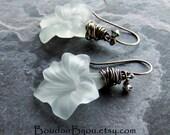 Store Closing, Wire Wrapped Earrings-Sterling Silver Earrings-Vintage Lucite-Flower Earrings-Crystal Earrings-Oxidized Earrings