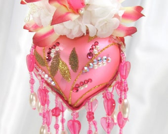 Hot Raspberry Pink and White Heart Victorian Beaded Ornament with Swarovki Crystals