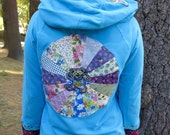 Grateful Dead Dancing Bear Turquoise Mandala Upcycled Patchwork Sweater Hoodie Jacket Sweatshirt Festival Womens OOAK Size Medium