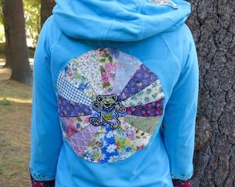 Grateful Dead Dancing Bear Turquoise Mandala Upcycled Patchwork Sweater Hoodie Jacket Sweatshirt Festival Womens OOAK Size Medium