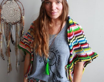 Vibrant Eclectic Crochet Bohemian Dreamer Sweater Dreamer Cropped Sweater/Shrug/Cardigan Festival Batwing Kimono Dolman Womens Clothing