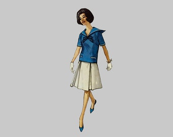 1960's Skirt and top Pattern, Simplicity 4276, Top with Sailor's Collar, Pleated Skirt, short sleeves Loose Fitting Blouse Size 14 Bust 34