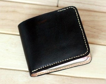 Leather Wallet,Men Womens Leather Wallet,Leather Bifold Wallet,Zippered leather wallet,Coin purse,Hand-dyed,Hand stitched by Napkitten