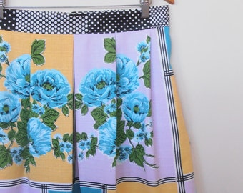 peonies in blue...vintage tablecloth pleated skirt with side seam pockets