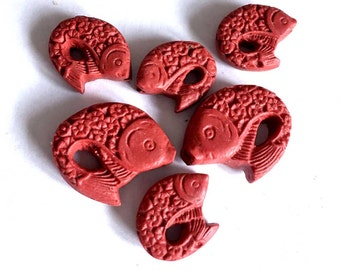 Cinnabar Carved Fish Pendant Beads (6 pc) (e6239)