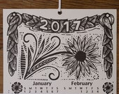 2017 Woodcut Scroll Wall Calendar