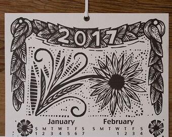 2017 Woodcut Scroll Wall Calendar