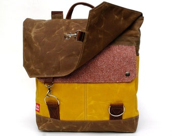 Waxed Canvas Backpack / Cranberry Vintage Wool & Yellow Waxed Canvas