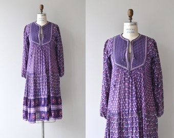 Starina Indian cotton dress | vintage 1970s quilted block print dress | 70s indian dress