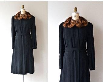 25% OFF.... DePinna mink collar coat | vintage 1930s coat | wool 40s coat