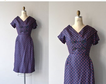 25% OFF.... Polydot dress | vintage 1950s dress | polka dot silk 50s dress