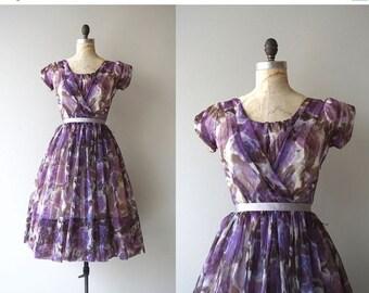 25% OFF.... Méthystos dress   vintage 1950s dress   floral chiffon 50s party dress