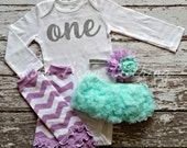 Baby Girl 1st Birthday Outfit Photography Props Silver One Bodysuit Mint Bloomers Legwarmers Lavender Cake Smash Outfit Chevron