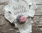 Baby Girl Take Home Outfit Newborn Baby Girl Hello World Bodysuit Pink & Grey Headband Set Lola Bean Clothing