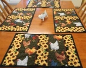 HOLD FOR KIM Do not purchase. 6 Rooster Placemats Quilted Reversible Sunflowers