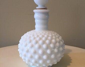 Vintage White Milkglass Hobnail Perfume Bottle.