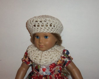 18 inch Doll Hat, Cowl Neck Scarf, Crochet Beret, Beige, Accessories, American Made, Girl Doll Clothes