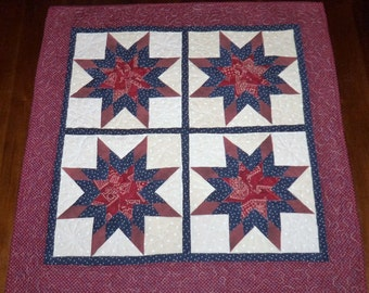 Americana, Wall Hanging, Patriotic, Fabric Wall Decor, Dining Table Decor, Prairie Stars, 29x29 Inches, Machine Quilted, Square Table Topper