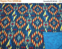 GROUNDHOG DAY SALE Lap Robe Throw Wheelchair Blanket Flannel Aztec Design Reversible