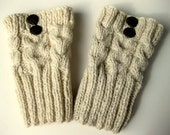Boot Socks, Boot Cuffs, Boot Toppers, Hand Knit Leg Warmers, Ivory Color, 2 Buttons, Cables, Pure Chunky Wool, Ready To Ship