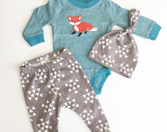 Newborn Baby Boy Coming Home Outfit, Boys Clothing, Pants Shirt with Matching Hat, Fox, Tribal, Woodland Animal