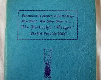 "Vintage pamphlet booklet, Battleship ""Oregon"", Bulldog of the Navy, Tichenor, 1940s, 1942,  WWII ephemera"