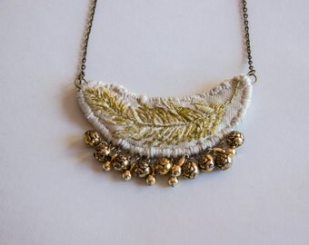 Long Golden Feather Necklace