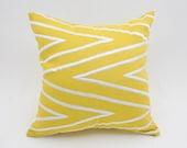 Yellow Chevron Pillow Cover, Modern Geometric, Silver Chevron Embroidery on Yellow Linen, Contemporary home pillow